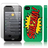 iPhone 4S / iPhone 4 Comic Capers SHAZAM Green/Red/Yellow Hard Back Cover Case / Shell / Shield + Screen Protector By Creative 11by Creative Eleven
