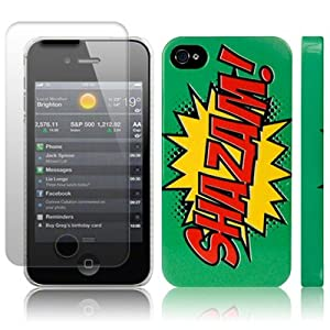 iPhone 4S / iPhone 4 Comic Capers SHAZAM Green/Red/Yellow Hard Back Cover Case / Shell / Shield + Screen Protector By Creative 11
