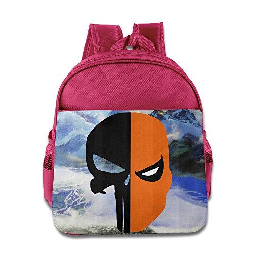 [Deathstroke Punisher Skull Face Mask Kids School Pink Backpack Bag] (Hobo Costume For Toddler)