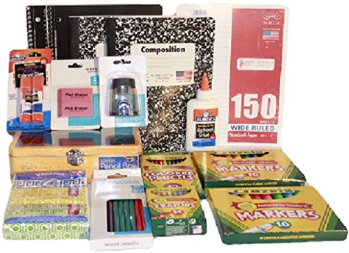 Complete Back to School or College Essentials Supplies Pack Bundle - 16 Items - Composition & Spiral Notebooks, Paper, Crayons, Markers, Pencils, Erasers, Glue, Pencil Box Case, Sharpener, Kleenex Kit (Pink)