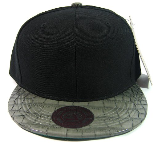 Blank Vintage Alligator Skin Snapback Hats Fashion | Black Grey front-32783
