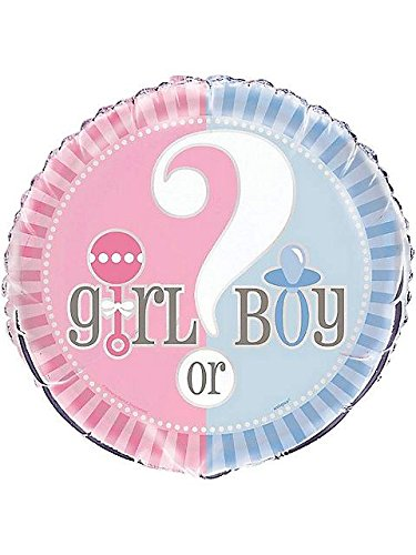 Gender Reveal Foil Balloon, 18-Inch, Blue And Pink front-390147