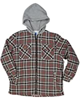 North 15 Men's Flannel Shirt, Sherpa Lined, Fleece Hood, Zipper Front