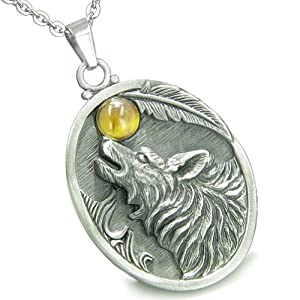 "Amulet Howling Wolf Tiger Eye Moon Gemstone Oval Shape 18"" Necklace"