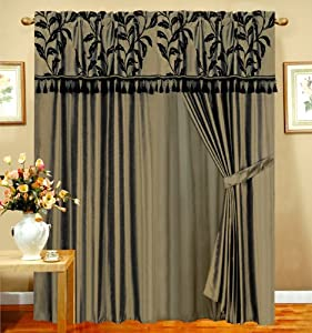 amazon com majestic flocking floral curtain set w