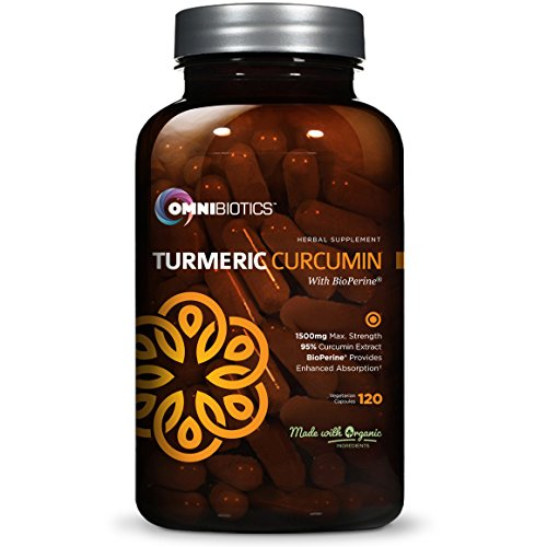 Organic Turmeric with Curcumin Supplement 1500mg with BioPerine | 95% Standardized Curcuminoid Extract & Organic Root Powder with Piperine Black Pepper Fruit (10mg), 120 Veggie Capsules (Black Seed Extract Capsules compare prices)