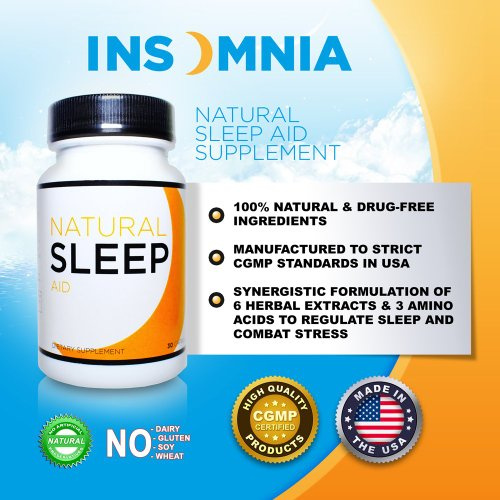 Natural SLEEP Aid, 30 Capsules (Fall Asleep Fast with Premium Blend of Melatonin, Herbal Extracts, and Amino Acids) #1 in Sleep Aids