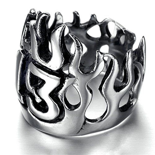 """Stainless Steel Ring for Men, Hollow""""13"""" Ring Gothic Black Band Silver Band 22MM Size 12 Epinki"""