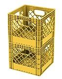Buddeez MC01016G123C Milk Crates, 16-Quart, Gold, 2-Pack