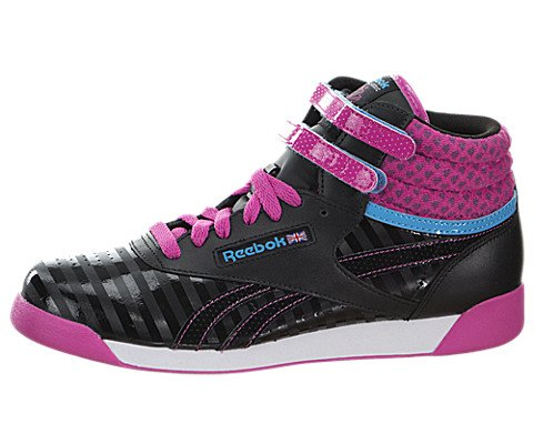 Reebok V63066 Juniors Freestyle Hi Shoe, Black/Charged Pink/California Blue/White - 6.5 (Reebok High Top Shoes compare prices)
