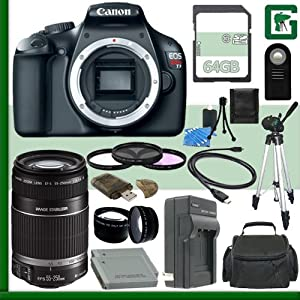 Canon EOS Rebel T3 Digital SLR Camera and Canon 55-250mm Lens + 64GB Green's Camera Package 1