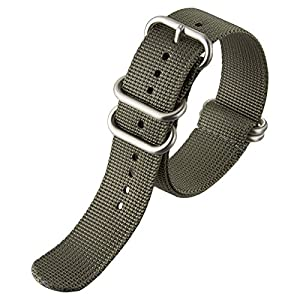 Nylon Watch Strap by ZULUDIVER, Brushed ZULU Buckles, Grey, 20mm