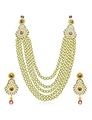 Sukkhi Sparkling Five Strings Gold Plated Kundan Necklace Set For Women