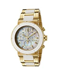 Invicta Women's 0170 Reserve Collection Chronograph 18k Gold-Plated and White Rubber Watch