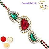 Rakhis Online- J-4001 Heart Jewel Rakhi With 200 Gms Of Kaju Katli