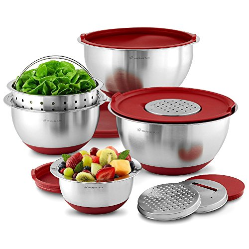 Stainless Steel Mixing bowl & Prep Set Wolfgang Puck Profesional Series RED Color 12 Piece (Wolfgang Puck Cookware 3 Qt compare prices)