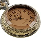 ESS Mens Stainless Steel Case White Dial Amber Front Antique Pocket Watch with Chain WP013-ESS