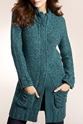 Per Una Long Sleeve Chunky Knit Cardigan with Wool [T62-0375I-S]