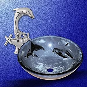 Glass sinks blue glass dolphins sink and dolphin faucet combo vessel sinks - Dolphin faucets ...