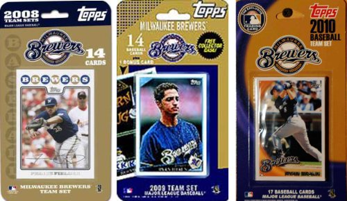 MLB Milwaukee Brewers 3 Different Licensed Trading Card Team Sets