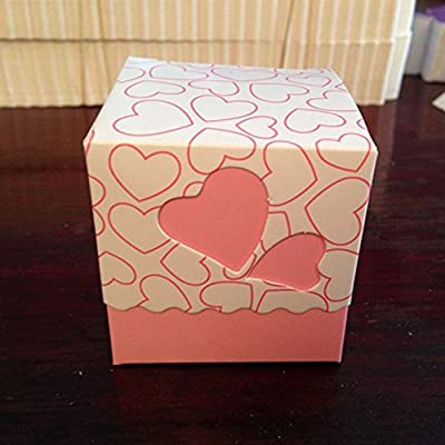 Crazy Genie 50pcs Hollow Out Love Heart Bowknot Pattern Wedding Favor Boxes Souvenir Candy Box Baby Shower Gift Box Chocolate Box for Wedding Party Supplies