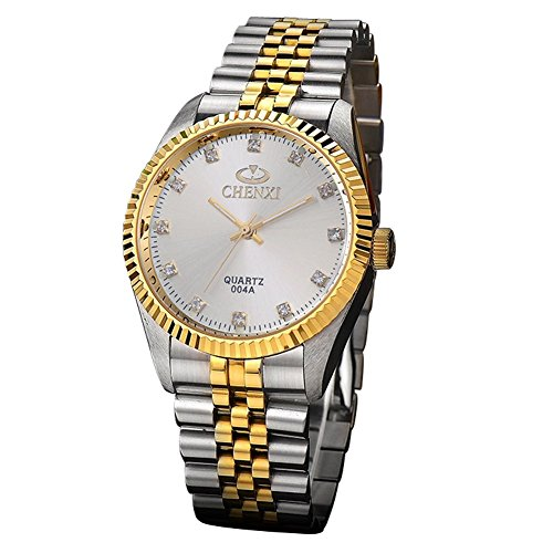 Chenxi-106 Gold Case Stainless Steel Band Stylish Pair Business Quartz Wrist Watch For Couple White