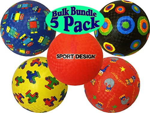 Sport Design 8.5 Inch Playground Balls Assortment Includes Red, Robot, Dots, Airplanes & Circus Bulk Set Bundle - 5 Pack (Robots Bulk compare prices)