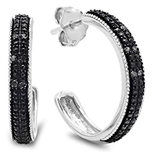 1/10ct Black Diamond Hoop Earrings in Sterling Silver