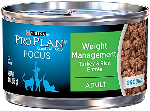 Purina Pro Plan Wet Cat Food, Focus, Adult Weight Management Turkey and Rice Entrée, 3-Ounce Can, Pack of 24