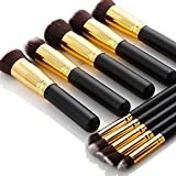 Agm 10 Pcs Professional Handle Cosmetic Kabuki Makeup Foundation Blending Brush Set Kit. (Black+Gold)