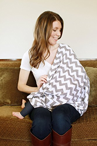 LiveBox Extra Long Breast Feeding Infinity Nursing Scarf (Grey and White Chevron)