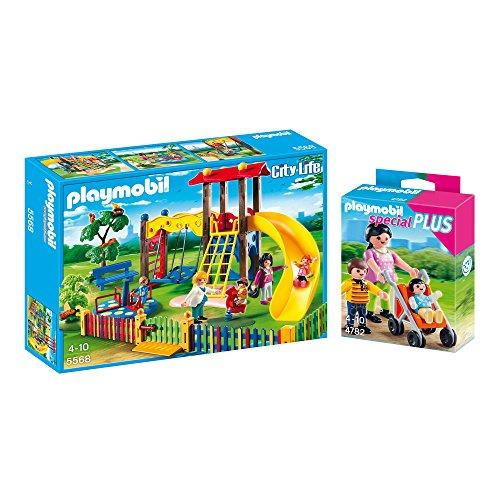 PLAYMOBIL® Spielplatz 2er Set 5568 4782 - Kinderspielplatz & Mama mit Kindern