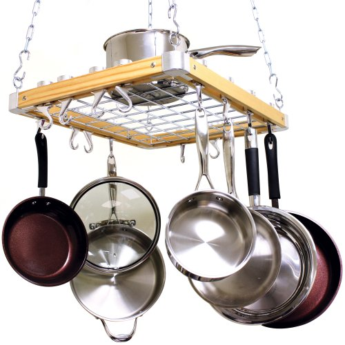 Cooks Standard Ceiling Mount Wooden Pot Rack, 30-Inch by 15-Inch, Silver