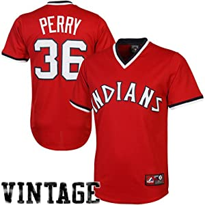 MLB Gaylord Perry Cleveland Indians #36 Majestic Cooperstown Collection Throwback... by Majestic