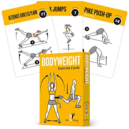 Exercise Cards Bodyweight, Total Body Workout, Personal Trainer Fitness Program, Home Gym Guide, Tones Core, Abs, Legs, Gluts & Upper Body - Improves Training Routine, Large, Plastic + Waterproof