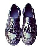 [RSWHYY] レディース オクスフォード シューズ ウィングチップ 春秋 美脚 ファッション イギリス風 厚底靴 タッセル ビジネスブーツ おじ靴 ローファー おしゃれ 通勤 通学 ブラック 23.0cm