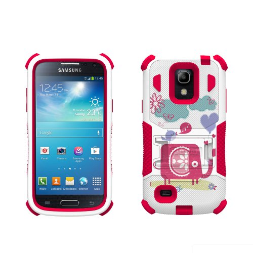 Beyond Cell Tri-Shield Durable Hybrid Hard Shell and Silicone Gel Case for Samsung Galaxy S4 Mini - Retail Packaging - White/Pink/Elephant and Singing Bird