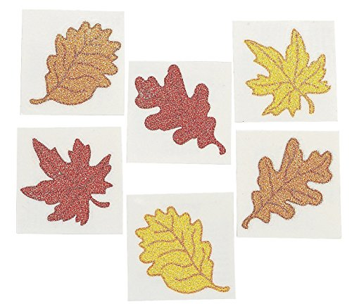 Leaf Glitter Tattoos - 6 Dozen - Fall, Autumn or Thanksgiving Theme Party Supplies! - 1