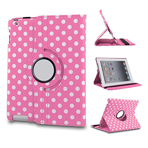 L-Asher Lightweight Auto Sleep/Wake Function 360 Degree Swivel Smart Stand Case Cover For 7.9 Inch Ipad Mini/Ipad Mini 2 With Retina Display With A Stylus As A Gift--Polka Dot Pattern,Hot Pink front-89194
