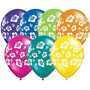 """11"""" Tropical Hibiscus Flowers Around Balloons (10 ct) (10 per package) from Qualatex"""