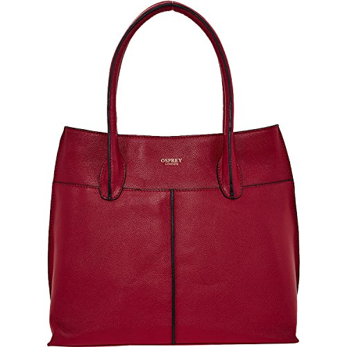 Womens Osprey London Red Leather Tote Bag Ladies
