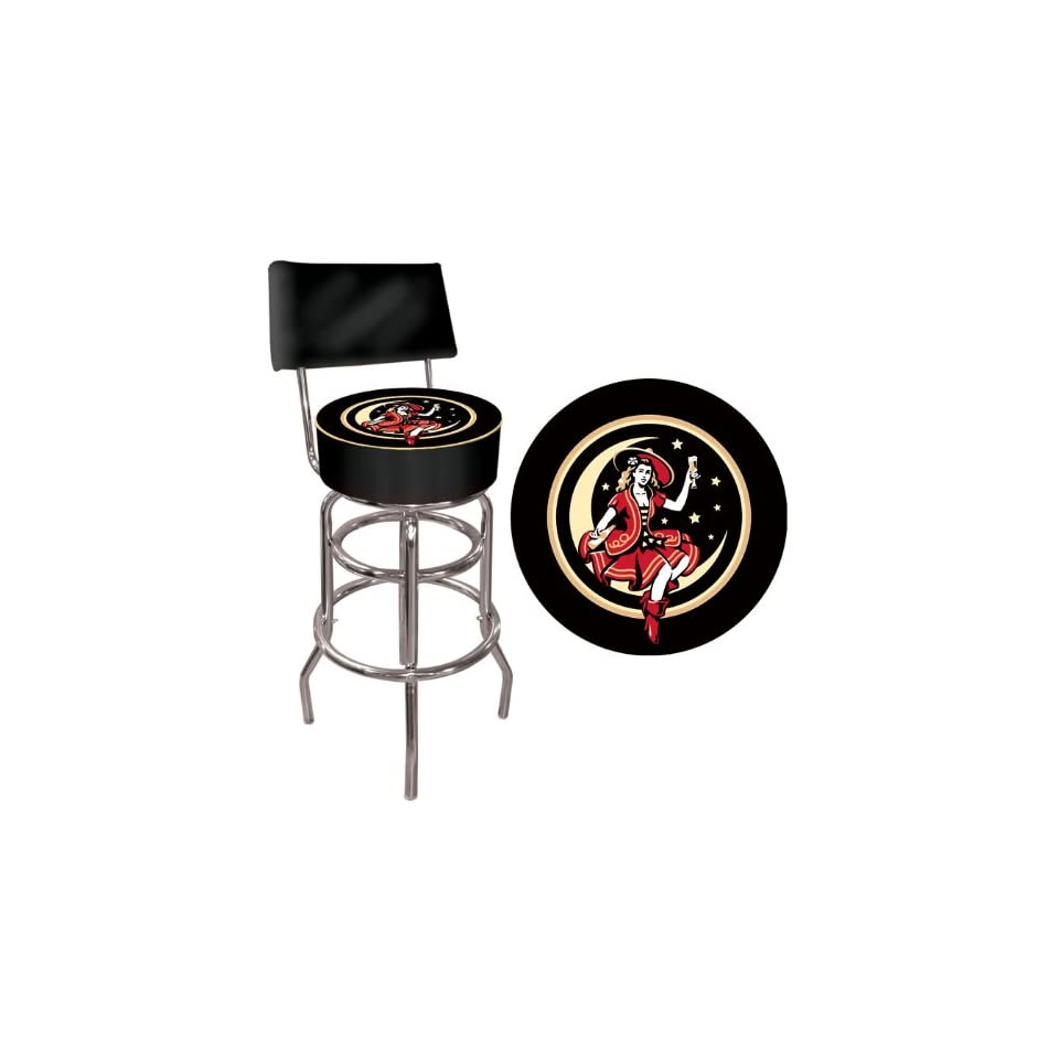 Miller High Life Girl in the Moon Padded Bar Stool with Back   Game Room Products Pub Stool Beer Logos