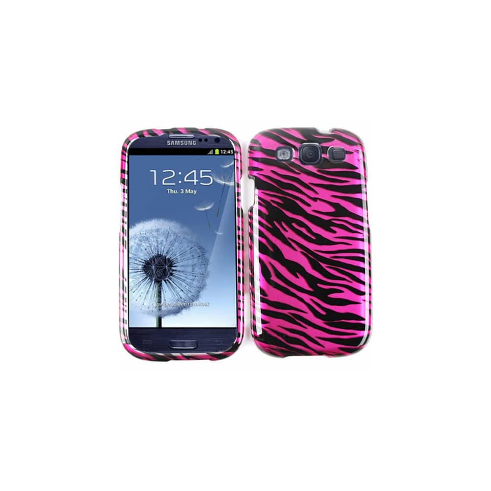 Cell Armor I747 SNAP TP1300 S Snap On Case for Samsung Galaxy SIII   Retail Packaging   Transparent Design, Hot Pink Zebra Print