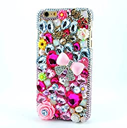iPhone 6 Case, STENES Luxurious Crystal 3D Handmade Sparkle Diamond Rhinestone Clear Cover with Retro Bowknot Anti Dust Plug - Sexy Bowknot Rose Flowers / Princess Pink