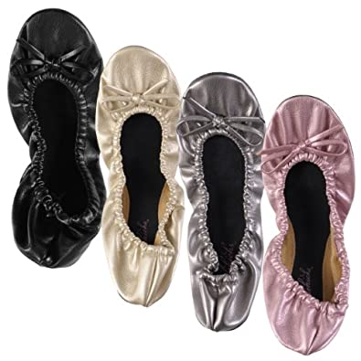 Sidekicks Foldable Ballet Flat Shoes with Carrying Case GOLD SMALL