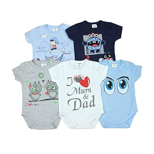 Baby Kurzarm-Body mit Aufdruck Spruch 100% Baumwolle Jungen Babybody Mädchen im 5er Pack, Farbe: Junge, Größe: 56