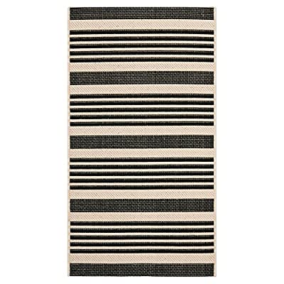 Safavieh Courtyard Collection CY6032-268 Navy and Beige Indoor/ Outdoor Area Rug