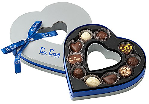 CoCoa Confection Blue/Silver, Chocolate, Heart Gift Box (Milk Chocolate), 4 Ounce