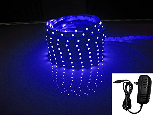 Led2020 Plug-N-Play Waterproof Blue Led Flexible Light Strip, 2A@12Vdc, 24Watt, 300 Smd 3528 Leds, 16.4 Ft, Wire Jumper Included, Power Supply Included