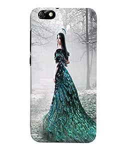 Fuson 3D Printed Fantasy Girl Designer Back Case Cover for Huawei Honor 4X - D869
